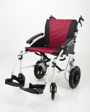 Excel G-Logic Lightweight Transit Wheelchair 16'' White Frame and Red Upholstery Slim Seat